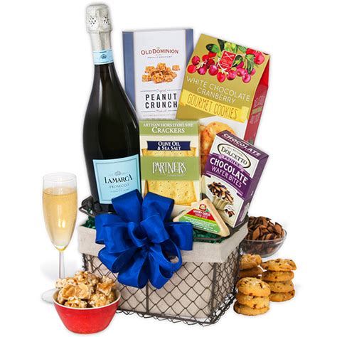 toasting to the new year gift basket by gourmetgiftbaskets com