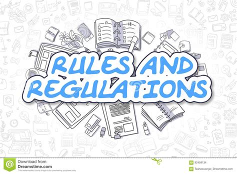 doodle free text option and regulations doodle blue text business concept
