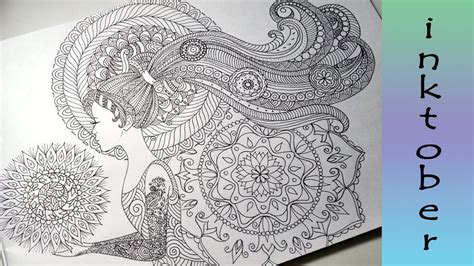 hair pattern drawing doodle girl with pattern hair zendales zentangle style