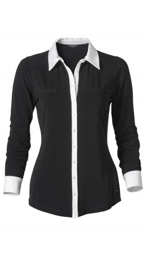 Womens Black Blouse With White Collar by Womens Black Blouse With White Collar Lace Henley Blouse
