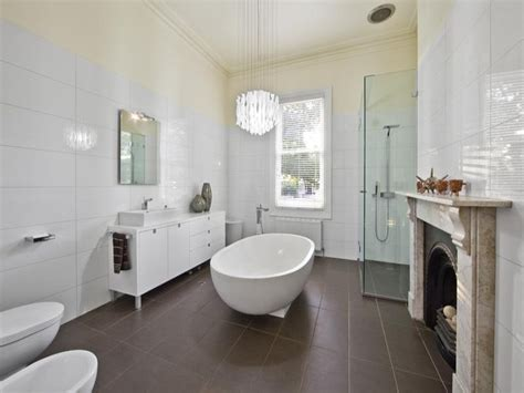 classic bathroom design with freestanding bath using