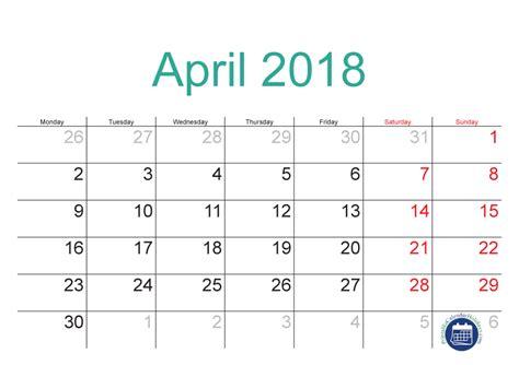 april calendar template 2018 april calendar printable in pdf format printable