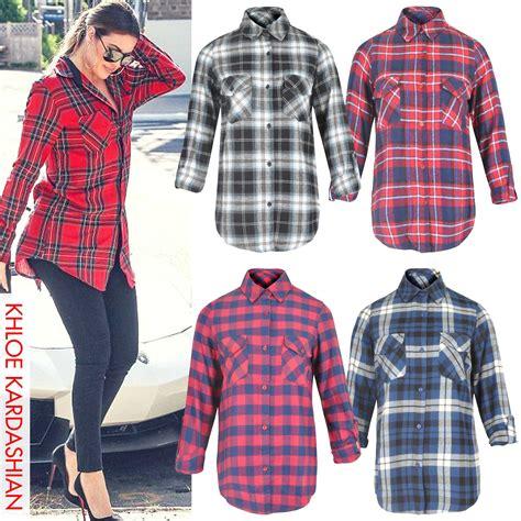 Chece Blouse womens check shirt lumberjack sleeve flannel