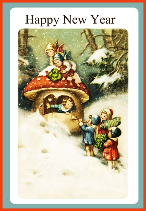 free vintage happy new year greeting cards elves with greeting cards for new year