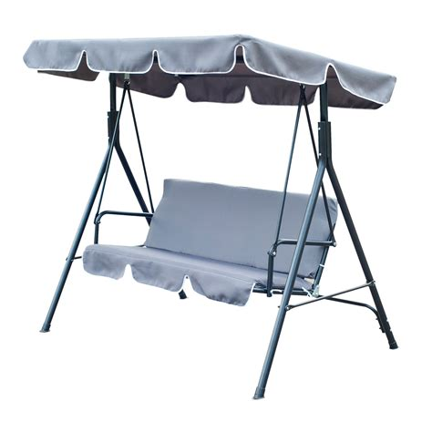 Outsunny Metal 3 Seater Outdoor Swing Chair Lounger With Patio Swing Chair