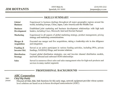 executive summary example resume project management executive
