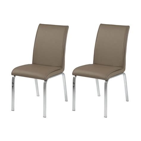 leonora taupe faux leather dining chairs dining chairs