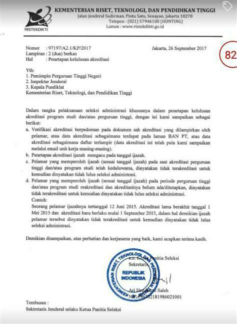 Surat Keterangan Akreditasi Untuk Cpns by Lldikti Wilayah Xii Surat Panselnas Cpns Tentang