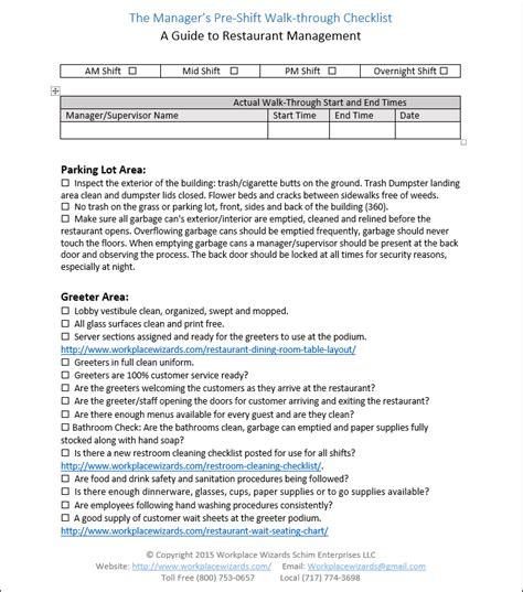 Restaurant Manager Walk Through Checklist Restaurant Consulting Walk Through Checklist Template