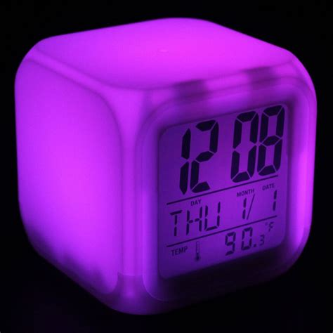 colorful glowing 7 led colors changing lcd digital alarm clock with time date ebay