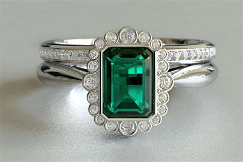 vintage emerald and engagement ring with