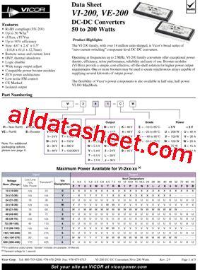 transistor ew vi b1y ew datasheet pdf vicor corporation
