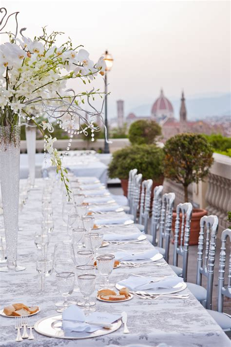 white lace crystals wedding in florence italy