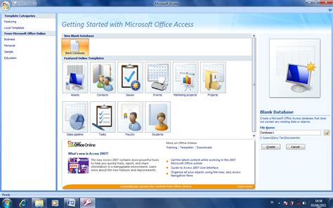 membuat database microsoft access 2007 membuat database baru pada ms access 2007 tutorial tik ptd