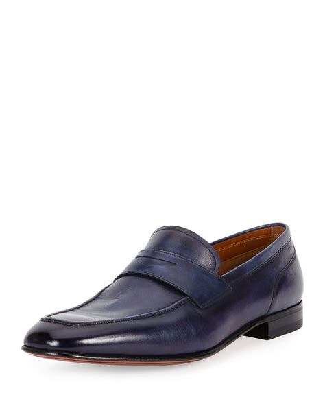 ballys loafers bally brent leather loafer in blue for lyst