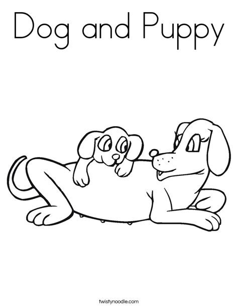 coloring pages of dog and puppy dog and puppy coloring page twisty noodle