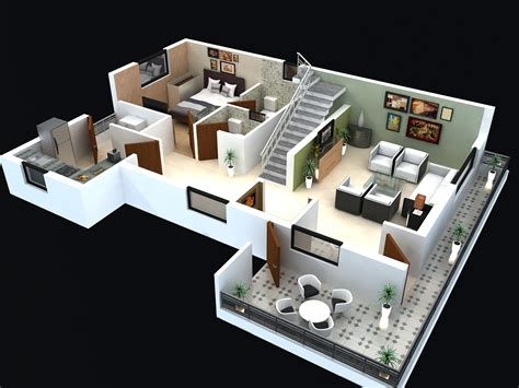 house design ideas 3d floor plan for modern triplex 3 floor house click on