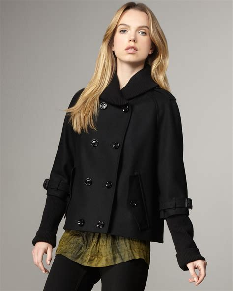 burberry swing coat burberry brit layer sleeve swing jacket in black lyst
