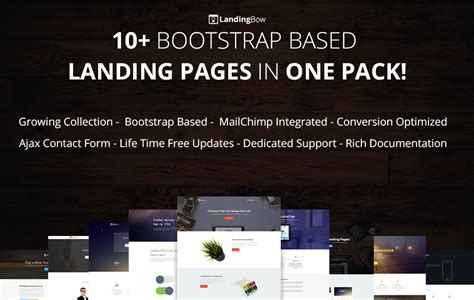 10 Bootstrap Landing Page Template Pack Landingbow Bootstrap Landing Page Template