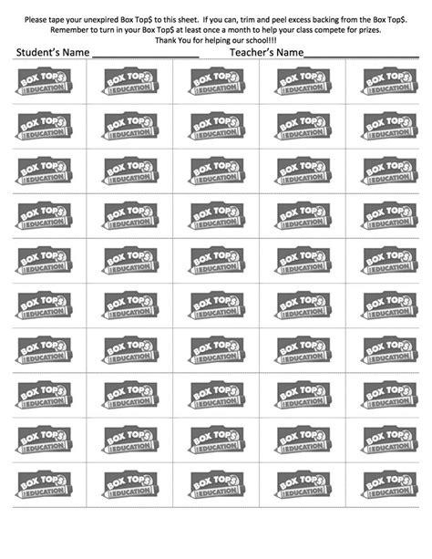 box tops 50 count sheet box tops collection sheets