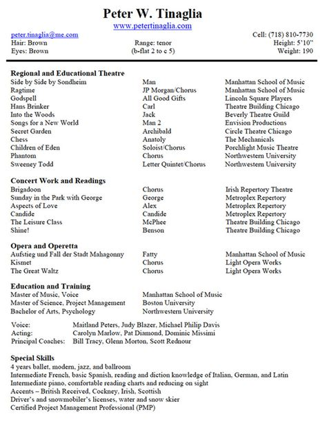 musical theater resume template musical theater resume best template collection