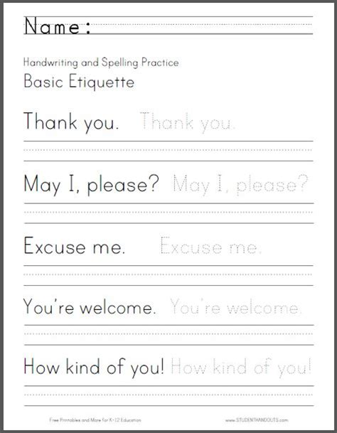 2nd Grade Handwriting Worksheets free printable handwriting worksheets 4th grade