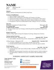 Nursing Assistant Resume Templates by New Cna Resume Sle Templates
