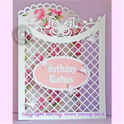 Lattice Card Template by Shirley S Cards Curved Lattice Card With Butterflies