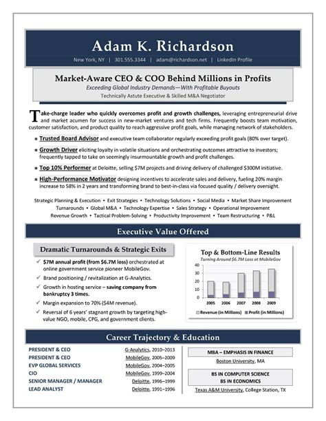 Ceo Resume by Ceo Coo Sle Resume Executive Resume Writer
