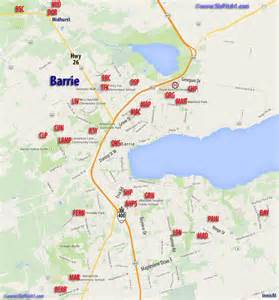 barrie map of parks diamonds