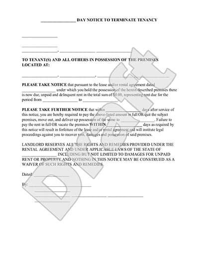 eviction notice form 30 day notice to vacate letter to