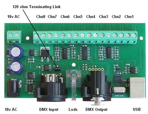 dmx512 termination resistor dmx usb rx a8 dmx512 8 channel analogue output module from devantech for 49 63