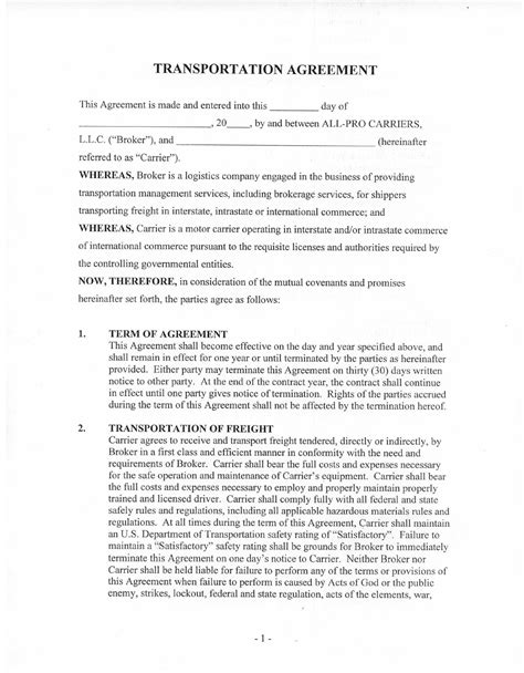 Agreement Letter For Transportation Transportation Agreement Free