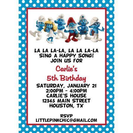 Smurf Baby Shower Invitations by Smurfs Invitations Smurfs Birthday Invitation Smurfette