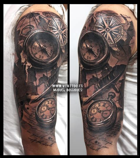 kompass kreuz tattoo v tattoo brujula compass y reloj 2 tatoo pinterest