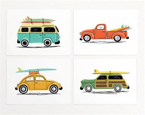 printable car wall art surf trip wall art print set 4 prints vintage cars