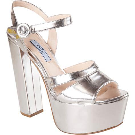 silver platform sandals prada metallic platform sandal in silver lyst