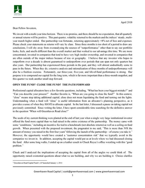 Greenhaven Road Capital Q1 2018 Investor Letter - Fiat
