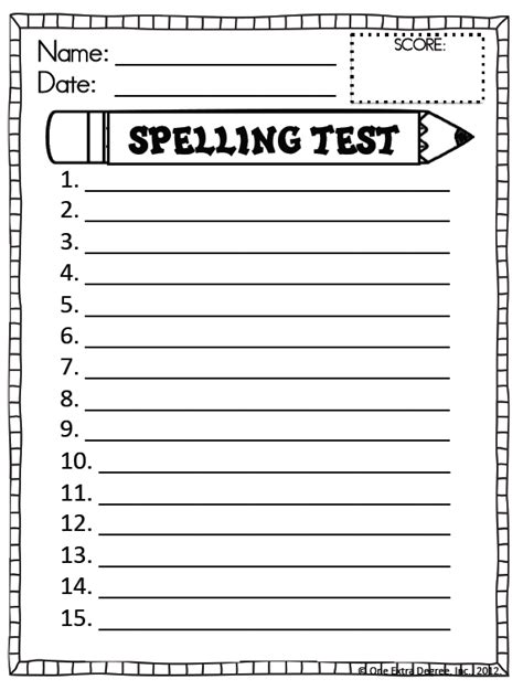 Spelling Test Template Lisamaurodesign Spelling Pretest Template