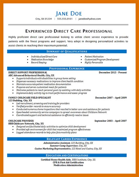 Direct Support Professional Resume by 3 4 Direct Support Professional Resume Sle Formatmemo