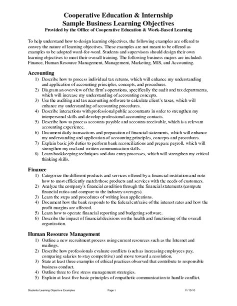 templates for business objectives best photos of business objectives template business