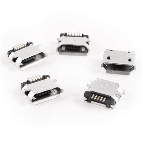 Smt Soket Micro Usb 5 Pin Konektor Tipe B 5 pcs micro usb type b socket 180 degree 5 pin smd