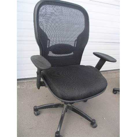 black rolling office chair with armrest see threw back