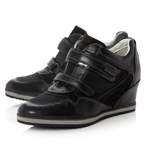 geox illusion wedge velcro trainer shoes in black lyst