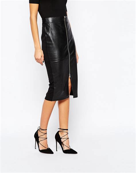 river island river island zip front faux leather skirt