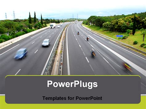powerpoint template view of freeway cars driving by fast