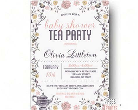 Tea Baby Shower Invites by Baby Shower Tea Invitation With Invitation Card Baby