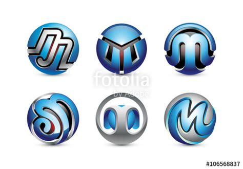 """6 Letter M 3D Sphere Logo Design"" Stock image and royalty ... M 3d Logo"