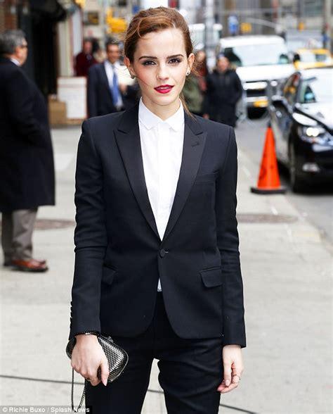 emma watson in suit emma watson looks svelte in fitted trouser suit as she