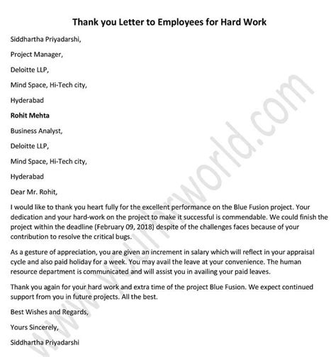 thank you letter to employees for work thank you letter to employees for work hr letter